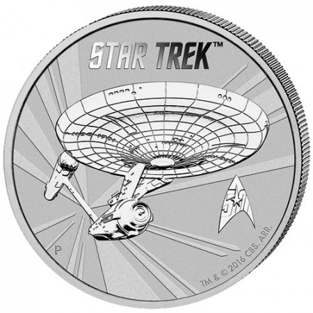 "2016 * 1 Dollar Silver 1 OZ Tuvalu ""Star Trek"" BU"