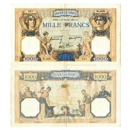 """1938 * Banknote France 1000 Francs """"Cérès et Mercure"""" (p90c) VF"""
