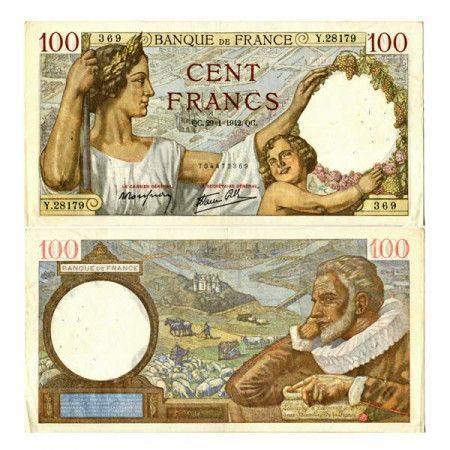 "1942 * Banknote France 100 Francs ""Sully"" (p94) aVF"