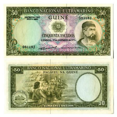 """1971 * Banknote Portuguese Guinea 50 Escudos """"Nuno Tristão"""" (p44a) aUNC"""