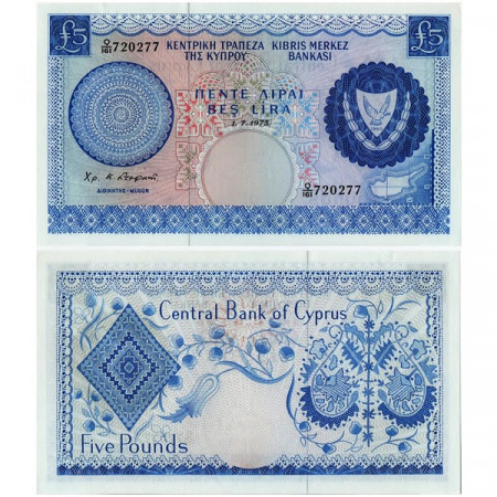 """1975 * Banknote Cyprus 5 Pounds """"Embroidery Design"""" (p44c) aUNC"""