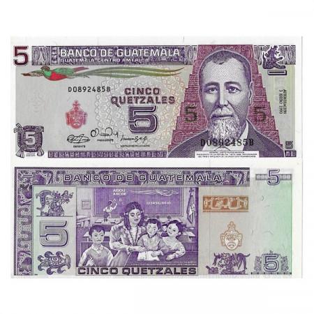 """1990 * Banknote Guatemala 5 Quetzales """"General JR Barrios"""" (p74a) UNC"""