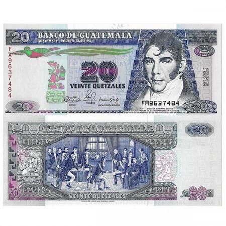 "1990 * Banknote Guatemala 20 Quetzales ""Dr. Mariano Galvez"" (p76b) UNC"