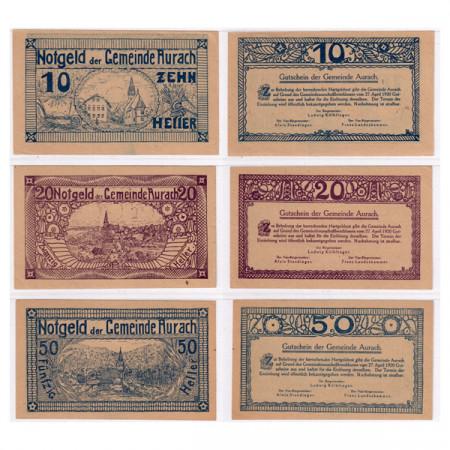 """1920 * Set 3 Notgeld Austria 10 . 20 . 50 Heller """"Upper Austria - Aurach"""" (FS 68)"""