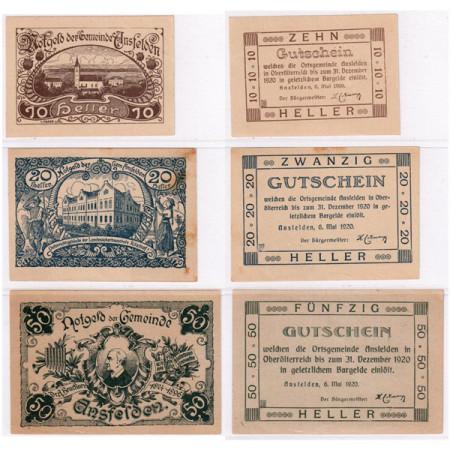 "1920 * Set 3 Notgeld Austria 10 . 20 . 50 Heller ""Upper Austria - Ansfelden"" (FS 45Ia)"
