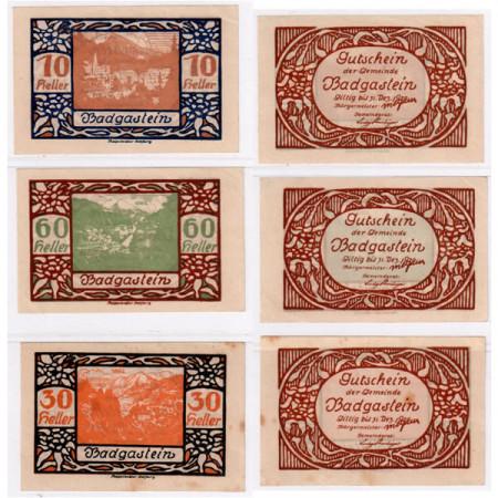 """1920 * Set 3 Notgeld Austria 10 . 30 . 60 Heller """"Salzburg State - Bad Gastein"""" (FS 75Ia)"""