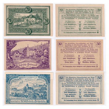 """1920 * Set 3 Notgeld Austria 20 . 30 . 50 Heller """"Upper Austria - Bernhardschlag"""" (FS 697)"""