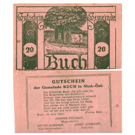 """1920 * Notgeld Austria 20 Heller """"Lower Austria – Buch"""" (FS 113)"""