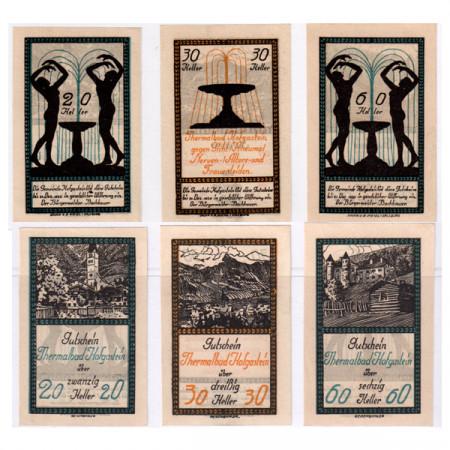 """1920 * Set 3 Notgeld Austria 20 . 30 . 60 Heller """"Salzburg State - Bad Hofgastein"""" (FS 384I)"""