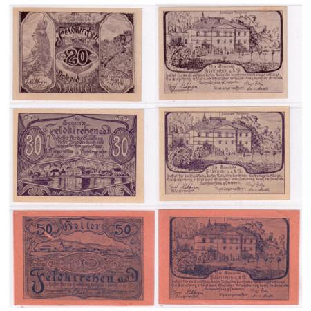 """1920 * Set 3 Notgeld Austria 20 . 30 . 50 Heller """"Upper Austria - Feldkirchen an der Donau"""" (FS 197a)"""