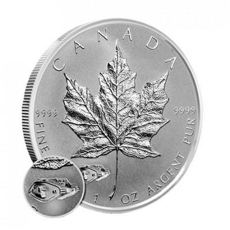 """2016 * 5 Dollars Silver 1 OZ Maple Leaf Canada """"V Tank"""" Privy Mark"""