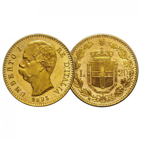 "1893 R * 20 Lire Napoleon Gold Kingdom of Italy ""Humbert I"" (KM 21) aUNC/UNC"