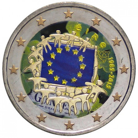 "2015 * 2 Euro IRELAND ""30th Anniversary of the Flag of Europe"" Colored"