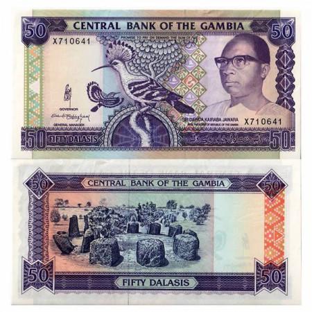"""ND (1989-95) * Banknote Gambia 50 Dalasis """"President Jawara"""" (p15a) XF+"""