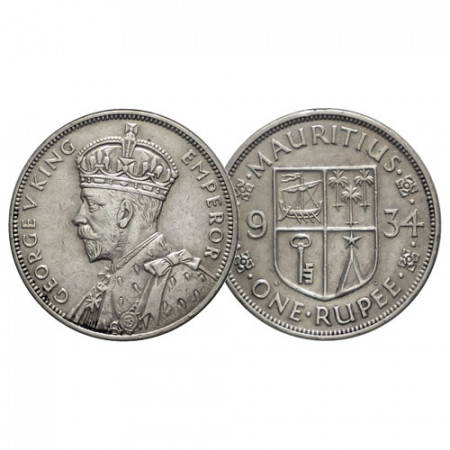 "1934 * 1 Rupee Silver Mauritius ""George V - National Arms"" (KM 17) VF+"