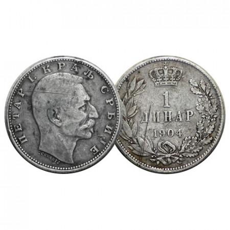 "1904 * 1 Dinar Silver Serbia ""Peter I"" (KM 25.1) aVF"