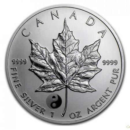 """2016 * 5 Dollars Silver 1 OZ Maple Leaf Canada """"Yin Yang"""" Privy Mark"""