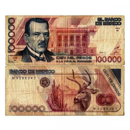 """1988 * Banknote Mexico 100.000 Pesos """"Plutarco E Calles"""" (p94a) F"""