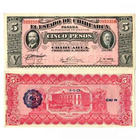 """1914 H * Banknote Mexico - Mexican Revolution 5 Pesos """"Estado de Chihuahua"""" (pS532) XF"""