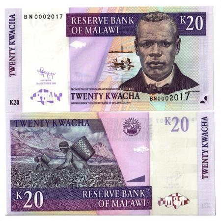 """2009 * Banknote Malawi 20 Kwacha """"J Chilembwe"""" (p52e) UNC"""