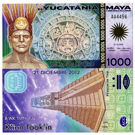 """2012 * Polymer Banknote Yucatania 1000 Soles de Oro """"Tikal"""" UNC"""
