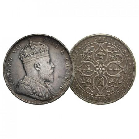 "1908 * 1 Dollar Silver Malaysia - Straits Settlements ""Edward VII"" (KM 26) XF"