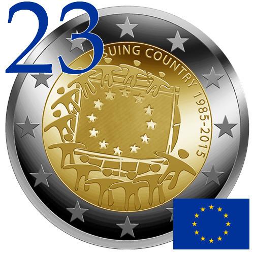 Portugal 2 euro 2015 EU European Union Flag 30 Years bimetal UNC