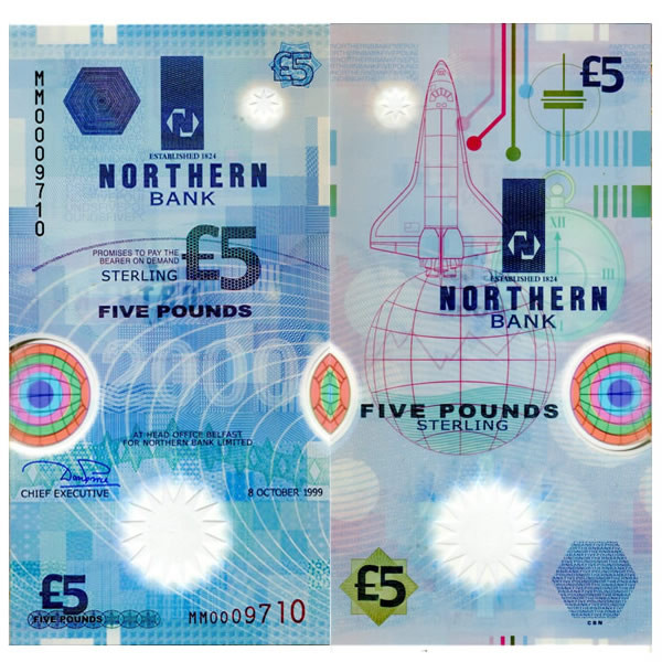 1999 POLYMER Ireland Northern Bank P-203a 5 pounds UNC
