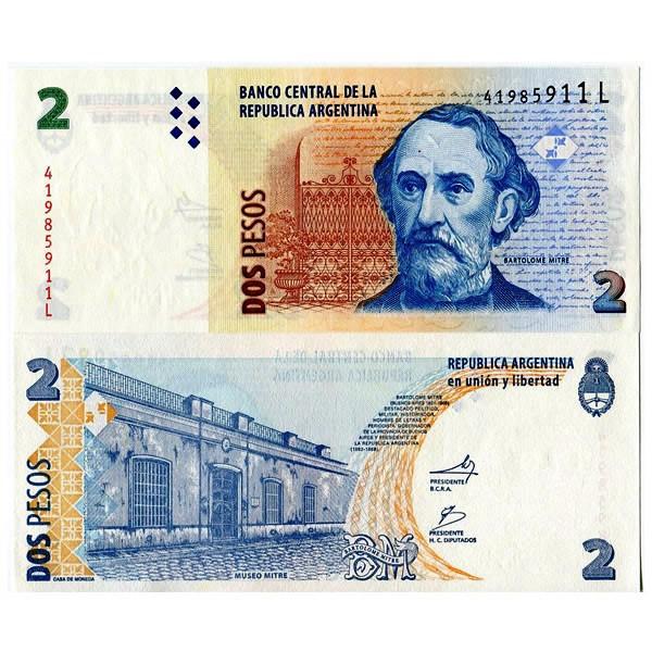 2010 Mitre Museum//p352 Series K UNC Argentina 2 Pesos