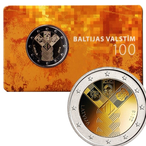 coin card Latvia 2 euro 2018 100th Anniversary of the Independence BU coincard
