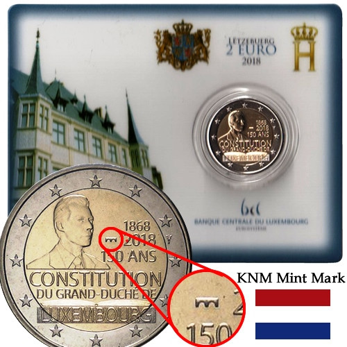 """Luxembourg 2 euro 2018 /""""150 years since the Constitution/"""" BiMetallic UNC"""