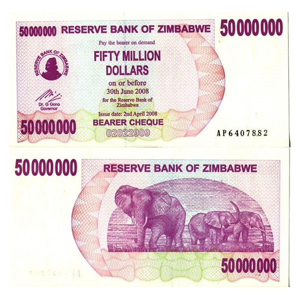 Zimbabwe 50 Million Dollars Uncirculated Bearer Cheque