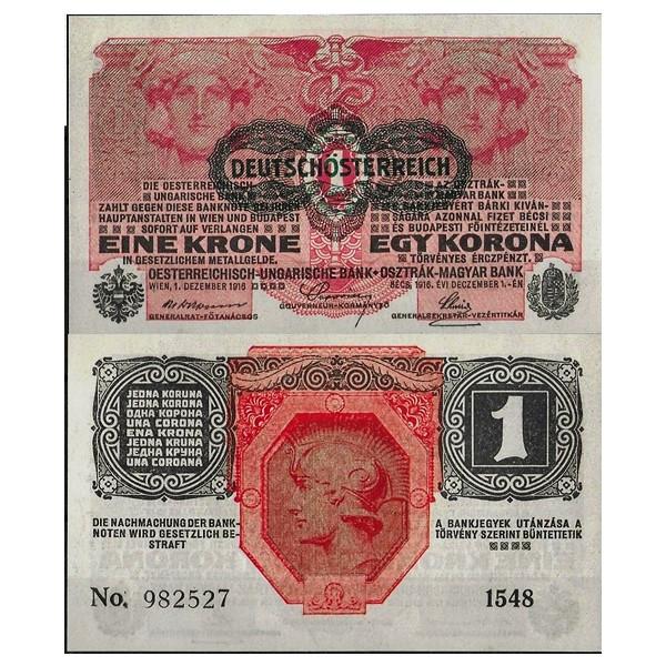 UNC /> 100 years old Austria 1916 P-49 1 Korona 1919