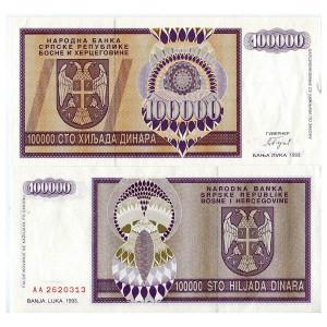 Pick 56f BOSNIA HERZEGOVINA 100.000 Dinara 1993 UNC
