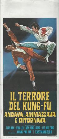 """1973 * Affiches De Cinéma """"Il Terrore del Kung-Fu, Men Kong-Loong"""" Art Martial (B)"""