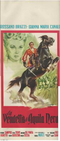 """1951 * Affiches De Cinéma """"La Vendetta di Aquila Nera - Rossano Brazzi"""" Aventure (B+)"""