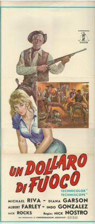 "1966 * Affiches De Cinéma ""Un Dollaro di Fuoco - Albert Farley, Diana Garson"" Western (B+)"