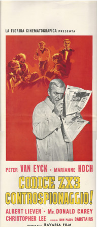 "1962 * Affiches De Cinéma ""Codice ZX3 Controspionaggio! - Peter van Eyck"" Dramma-Mystery  (B)"