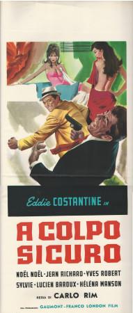"""1956 * Affiches De Cinéma """"A Colpo Sicuro - Eddie Constantine"""" Comédie (B)"""