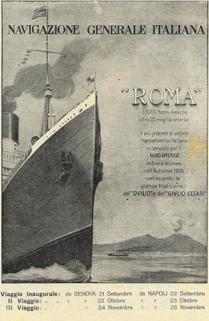 "1926 * Publicité Original ""Navigazione Generale Italiana - Roma"" dans Passepartout"