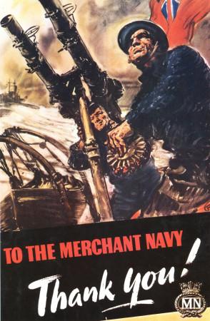 "ND (WWII) * Propagande de Guerre Reproduction ""Gran Bretagna - Alla Marina Mercantile: Grazie!"" dans Passepartout"