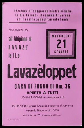 "1986 * Affiche Original ""11° Lavazèloppet Passo Lavazè Val di Fiemme, Dolomiti - Sci Gran Fondo"" Italie (A-)"