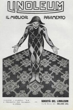 """1929 * Publicité Original """"Linoleum - Il Miglior Pavimento - Arlecchino"""" dans Passepartout"""