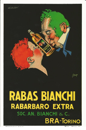 "Publicité ""Rabas Bianchi Rabarbaro Extra - Mauzan"" Reproduction"