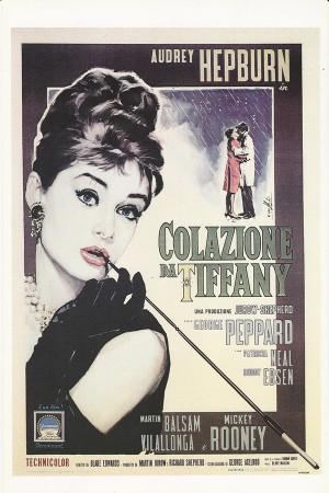 "Affiches De Cinéma ""Colazione da Tiffany (Breakfast at Tiffany's) - Audrey Hepburn"" Reproduction Comédie"