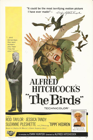 "Affiches De Cinéma ""Gli Uccelli (The Birds) - Alfred Hitchcock"" Reproduction Drame"