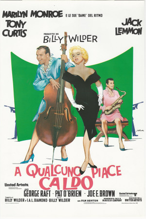 "Affiches De Cinéma ""A Qualcuno Piace Caldo - Jack Lemmon, Marilyn Monroe, Tony Curtis"" Reproduction Comédie"