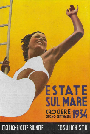 "1934 * Publicité Original ""Cosulich - Navigazione - STUDIO XANTI BOGGERI"" dans Passepartout"