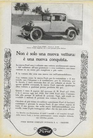 """1928 * Publicité Original """"Ford - Nuovo Coupè"""" dans Passepartout"""