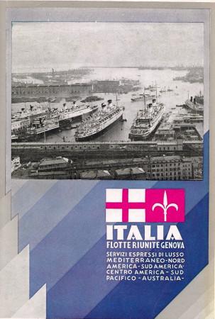 "1933 * Publicité Original ""Italia Flotte Riunite Genova – Port - ARTI GRAFICHE ALFIERI"" dans Passepartout"